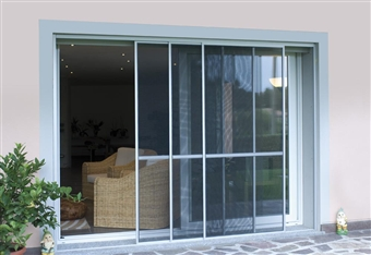 Zanzariera a 2 pannelli scorrevoli in alluminio su - Modelli di zanzariere per porte finestre ...
